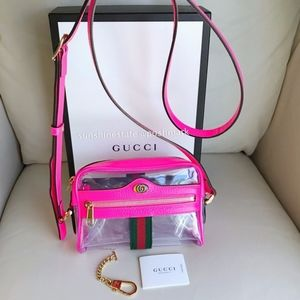 Gucci Clear PVC Mini Ophidia Crossbody Bag in Pink